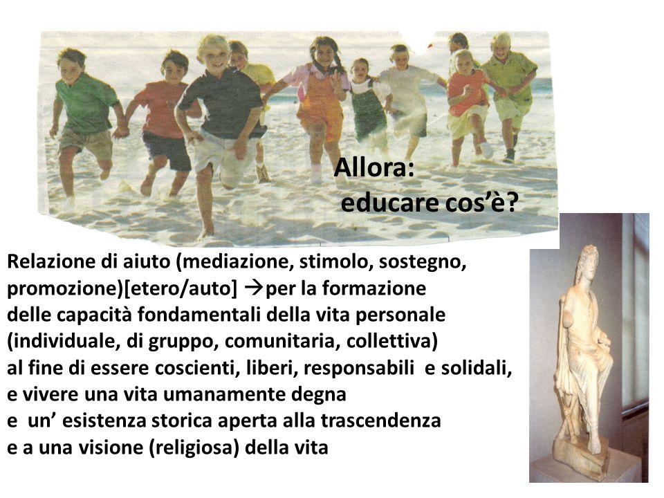 Allora: educare cos'è Relazione di aiuto (mediazione, stimolo, sostegno, promozione)[etero/auto] per la formazione.